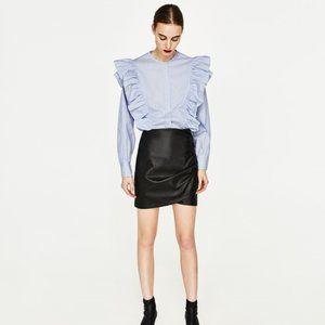 Zara Black Leather Ruched Skirt